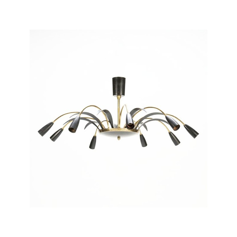 Large ceiling lamp 1950's with brass details