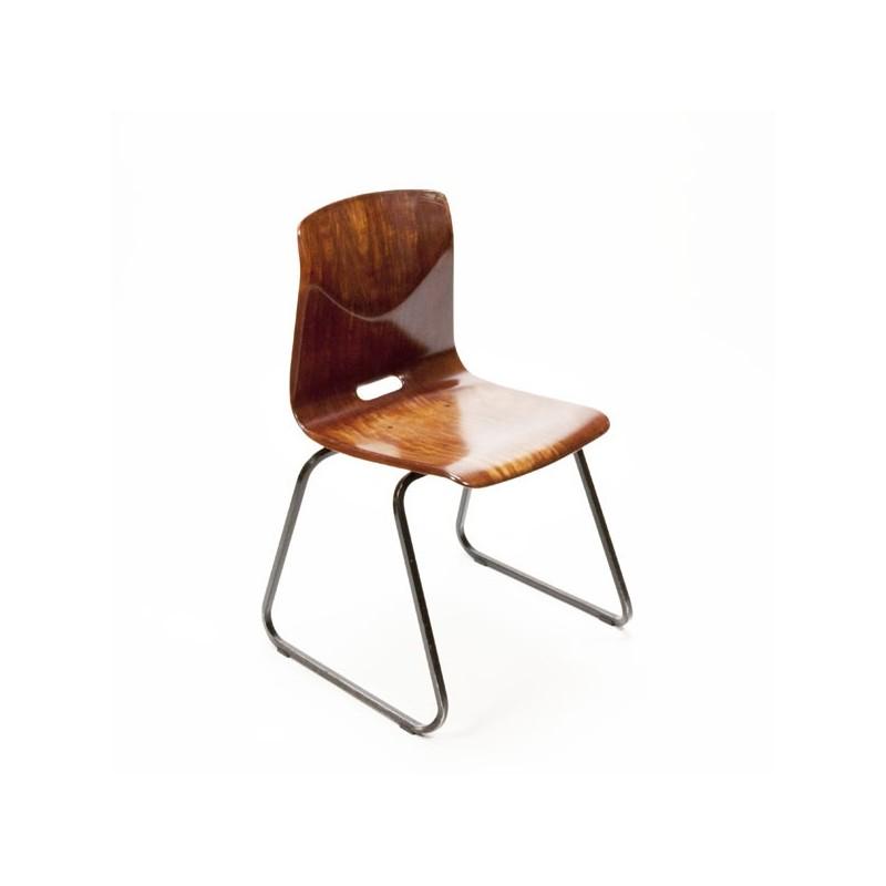 Pagholz stoel met bruin frame