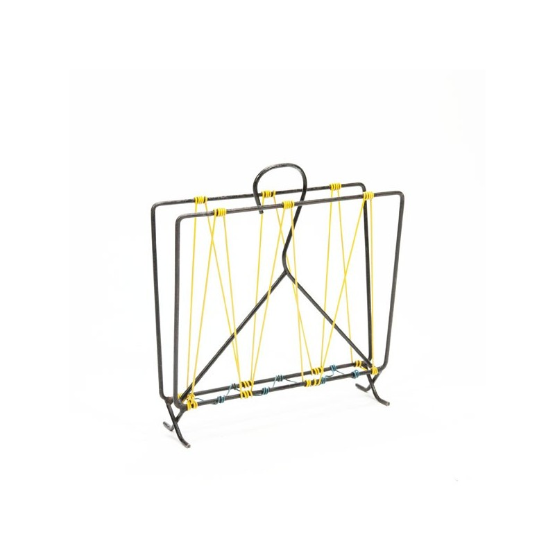Metal magazine rack yellow/ blue