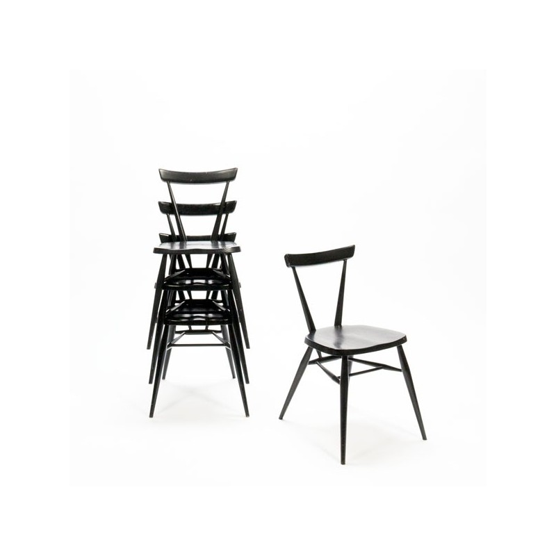 "Ercol ""Stacking chair"" set van 4"