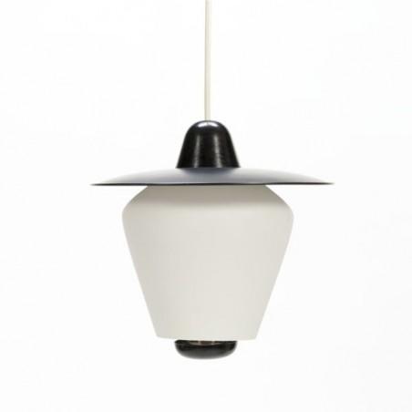 Hanglamp 1950's zwart/ glas