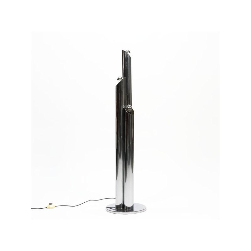Staande vloerlamp met chromen kokers