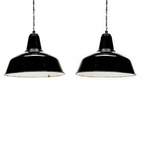 Set of two large industrial enamel lamps