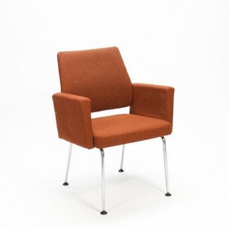 Desk chair with rust brown upholstery