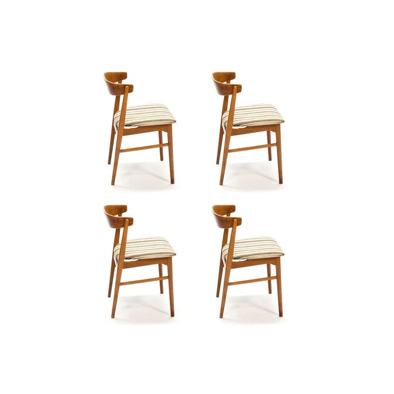 Set of 4 curved teak chairs