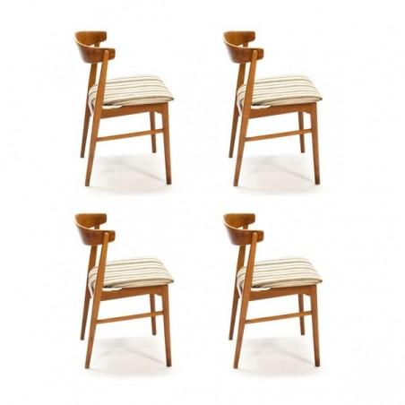 Set van 4 gebogen teakhouten stoelen