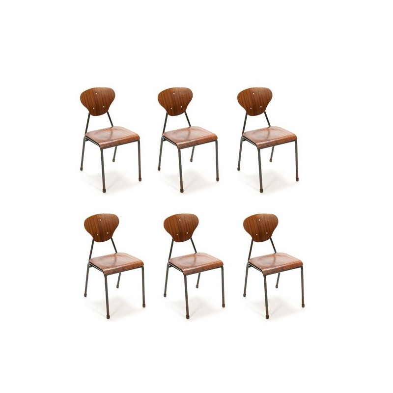 Set of 6 industrial Danish chairs