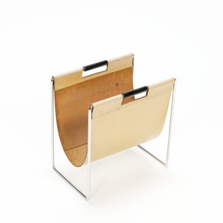 Leather magazine rack with black handles