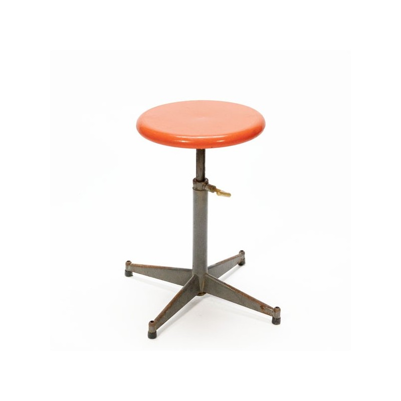 Industrial stool with orange seat