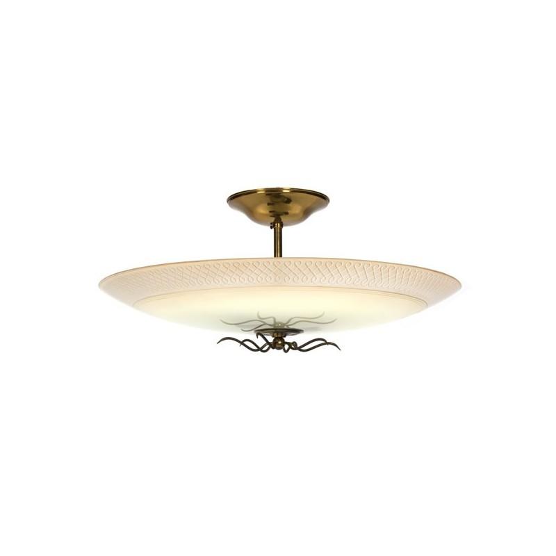 Grote glazen plafondlamp 1950's