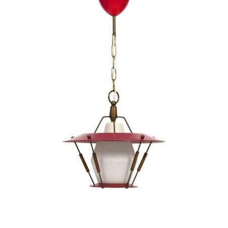 Red hanging lamp with teak details