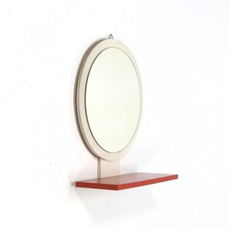 Ronde spiegel wit/ oranje