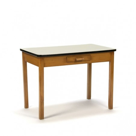 Wooden child's table with yellow top and drawer