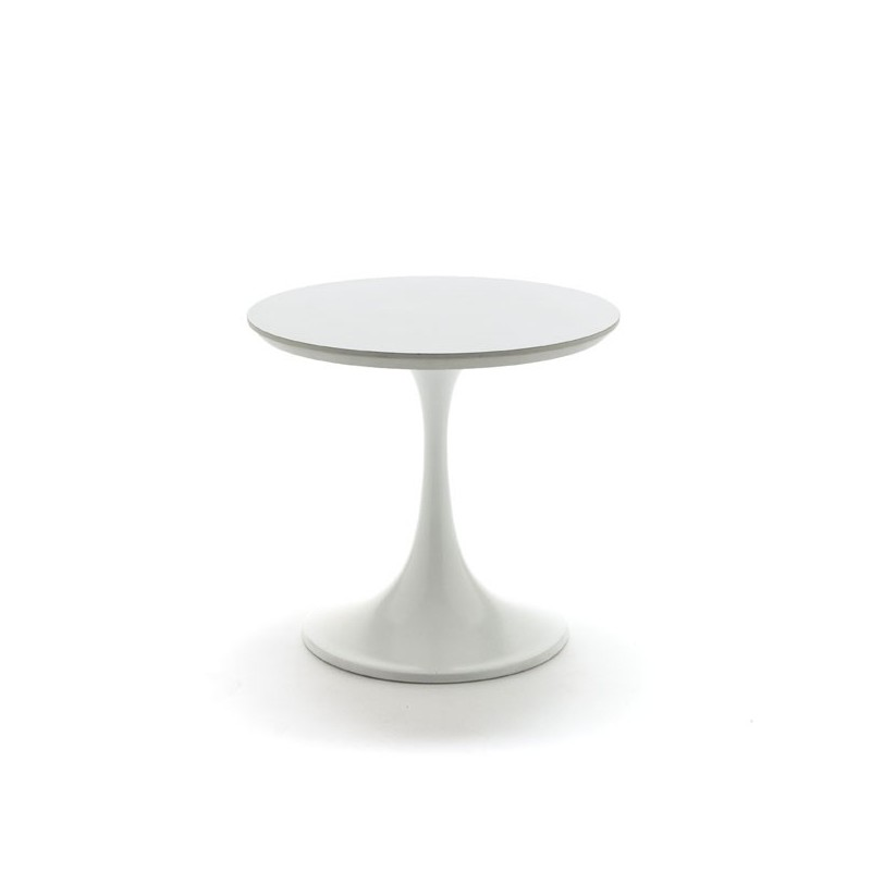 Side table white on tulip base