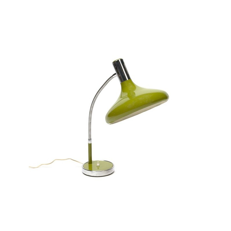 Desk lamp with large green shade