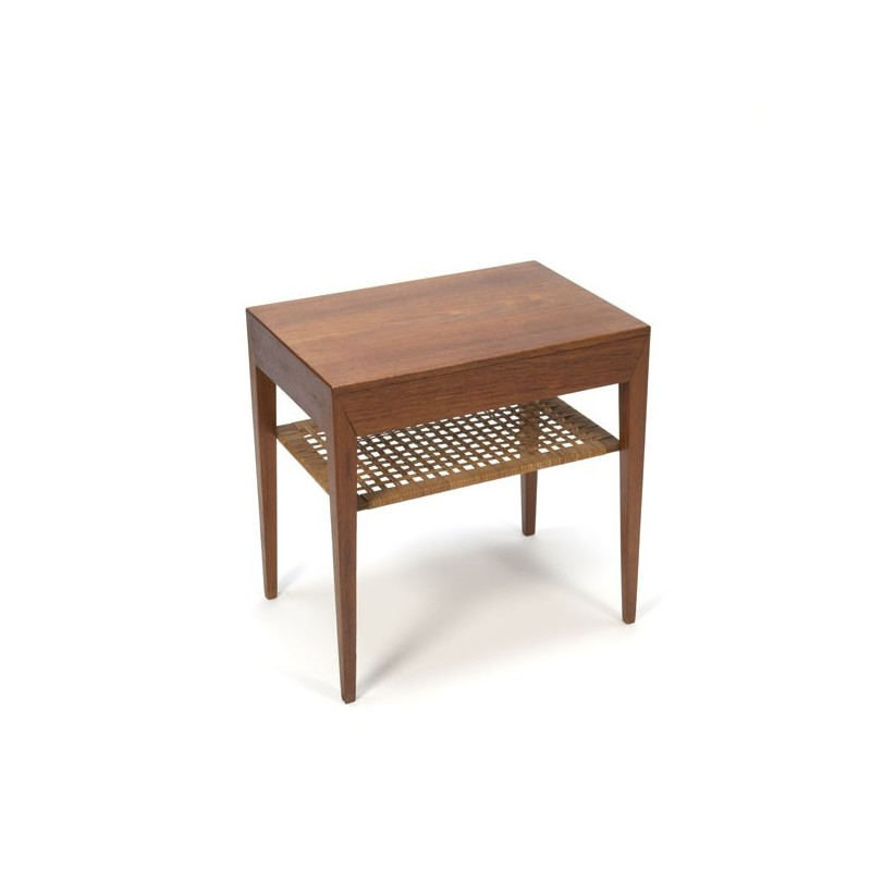 Side table with drawer in teak