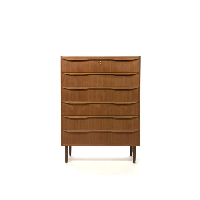 Teak chest of drawers with plywood handles