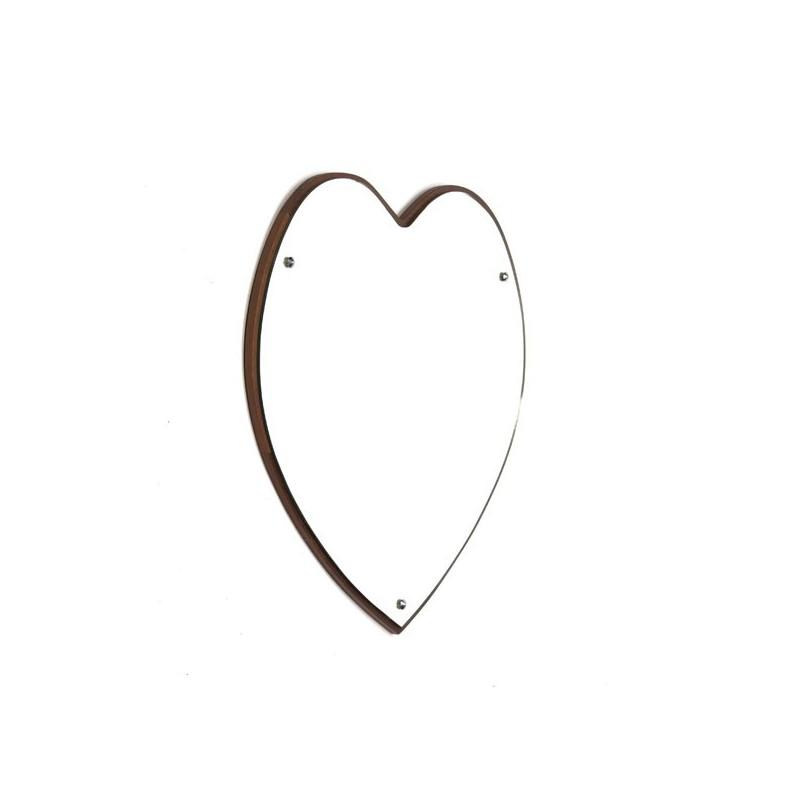 Grote teakhouten spiegel in hartvorm