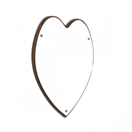 Large teak mirror heart shaped