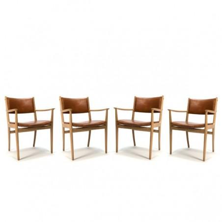 Set van 4 stoelen met cognac-lederen bekleding