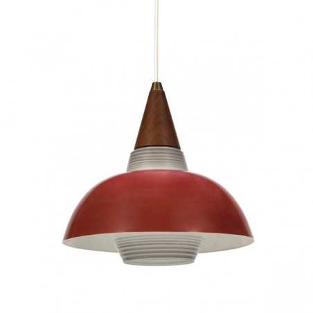Glass hanging lamp with red metal shade