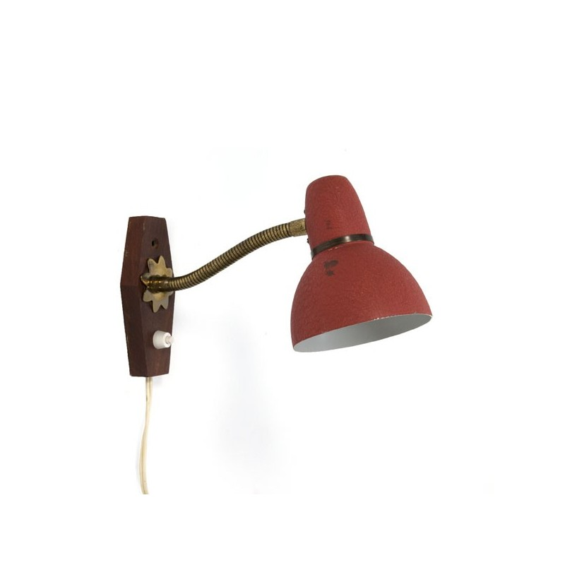 Wandlamp rood/ teak 1950's