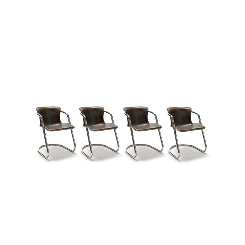 Set of 4 chairs with saddle leather upholstery