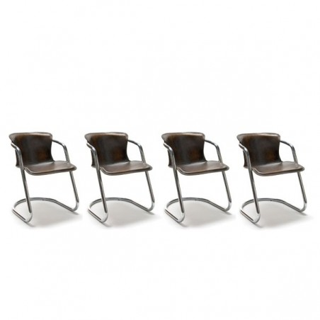Set van 4 stoelen met tuig lederen bekleding