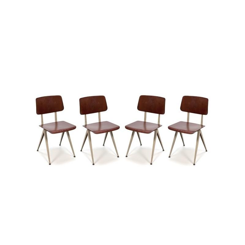 Set van 4 industriele stoel fabrikant Galvanitas