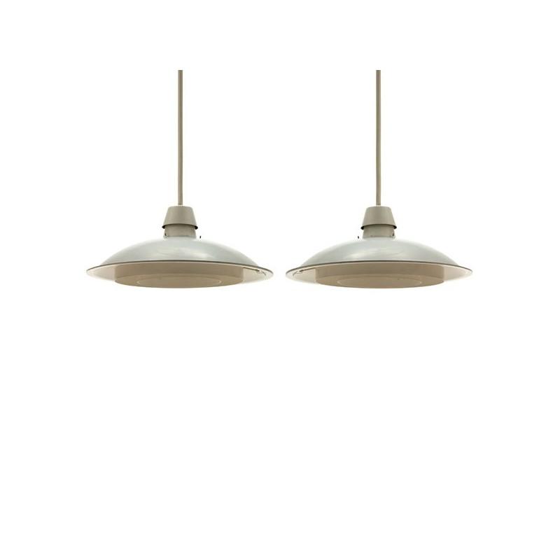 Set van 2 industriele Philips hanglampen creme