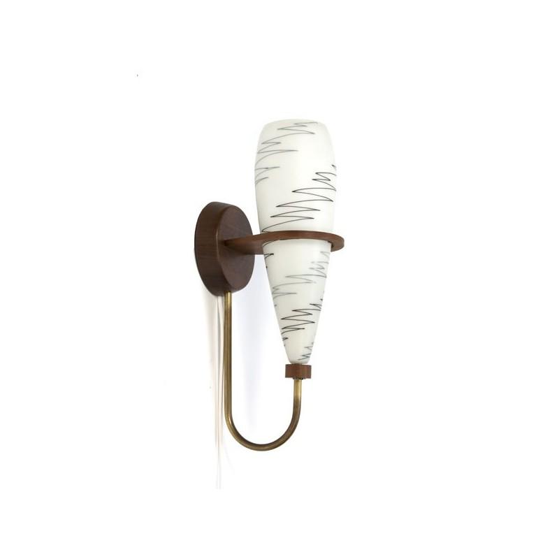 Glazen wandlamp met teakhouten wandbevestiging