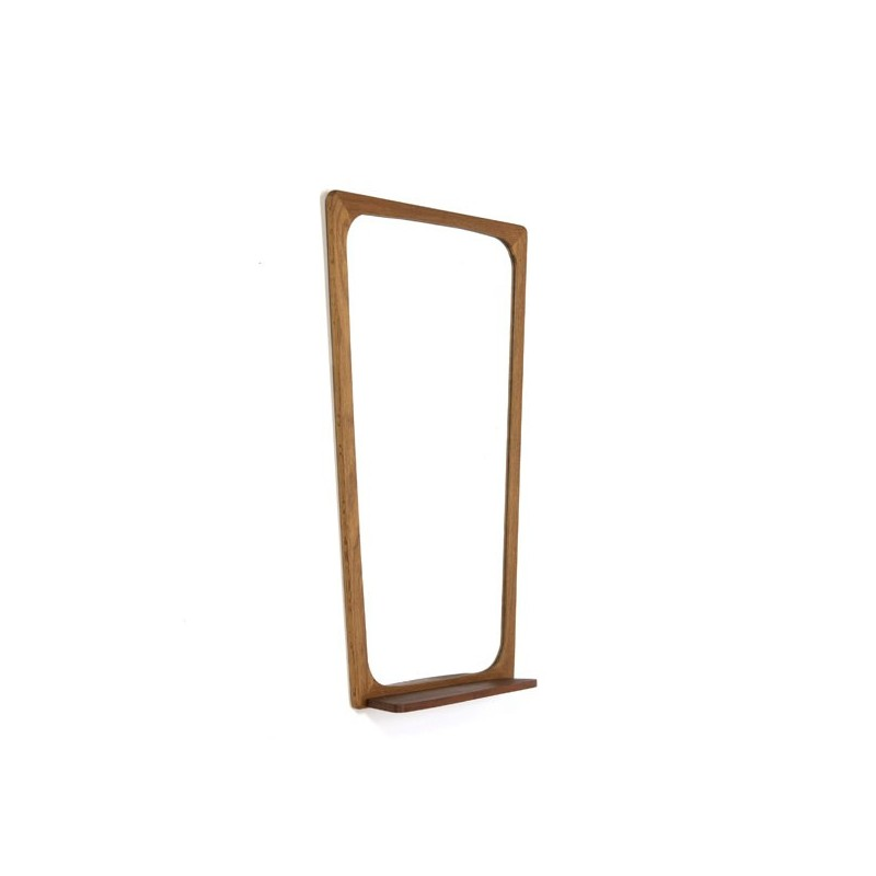 Danish mirror with teak shelf