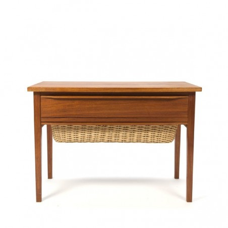 Small teak cabinet with wicker drawer