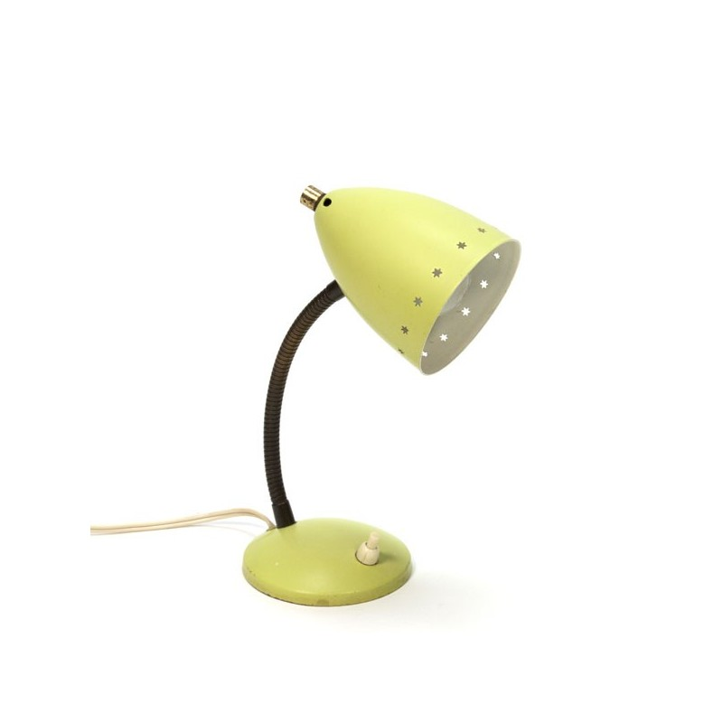 Yellow table lamp with perorated edge