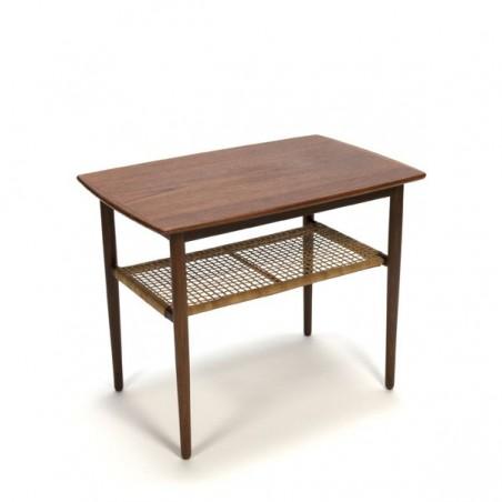 Teak side table with wicker