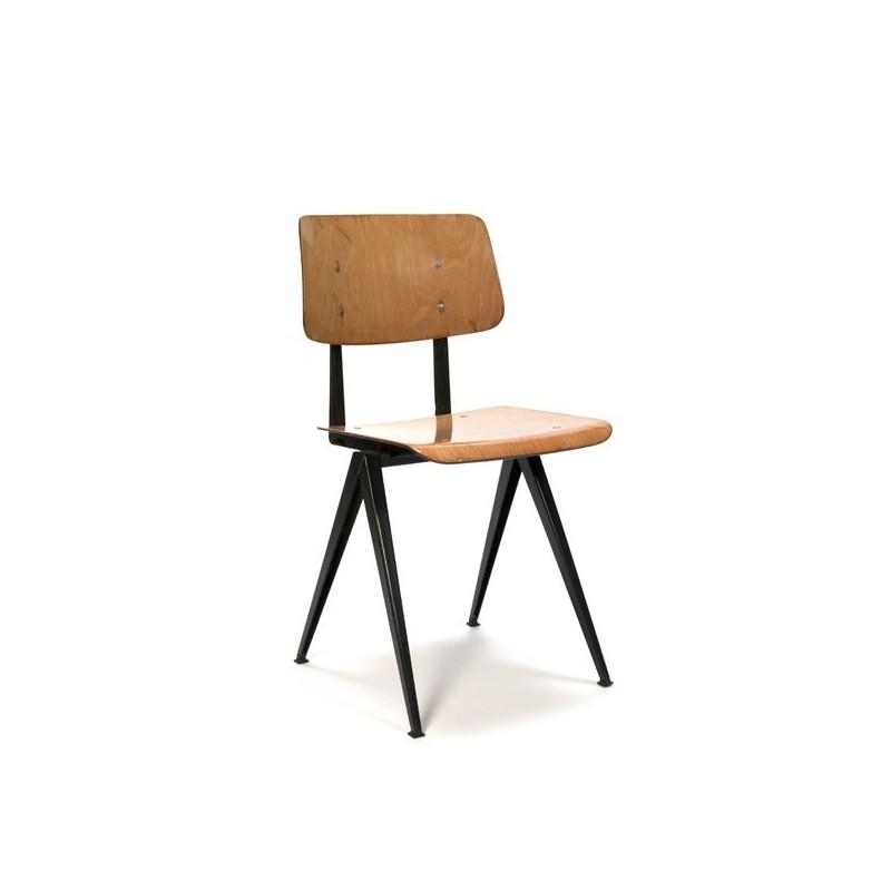 Industriele stoel Galvanitas houten zitting