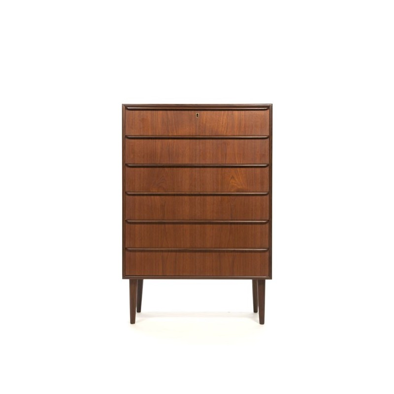 Teak chest of drawers with 6 drawers