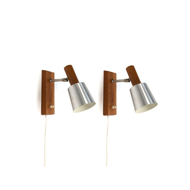 Set van 2 wandlampen aluminium/ hout