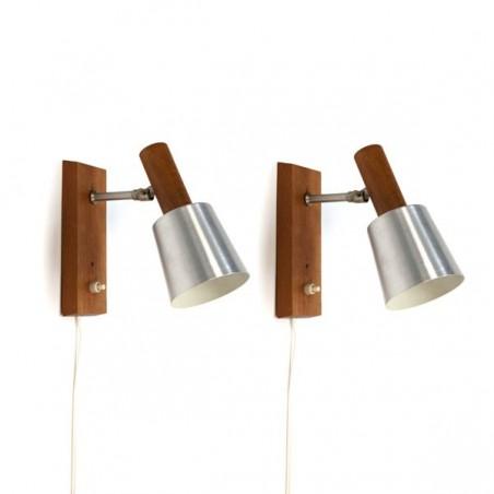 Set of 2 wall lights aluminium/ wood