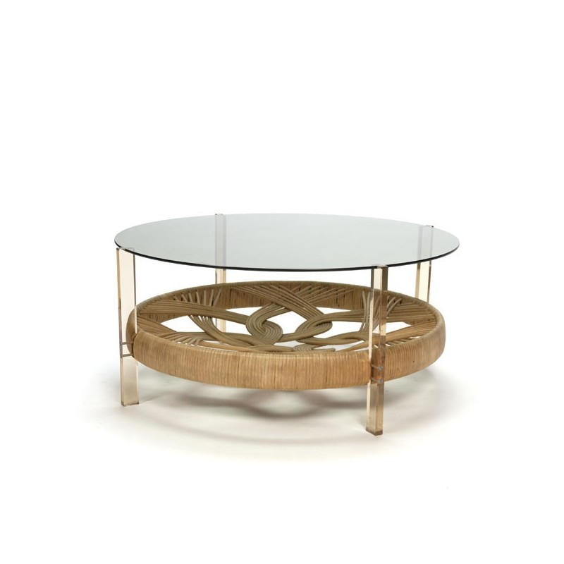 Seventies coffee table with glass top