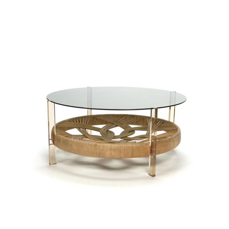 Zeventiger jaren salontafel met glazen blad