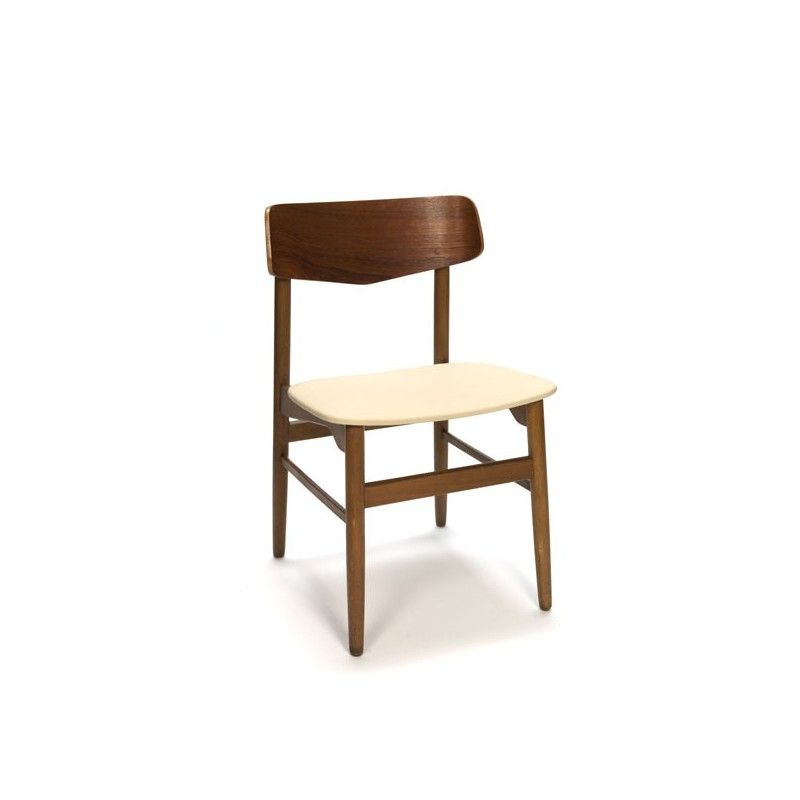 Teak chair with cream-colored upholstery