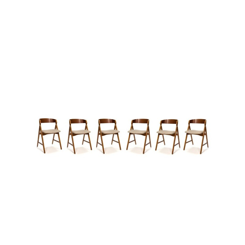 Danish chairs by H. Kjaernulf set of 6