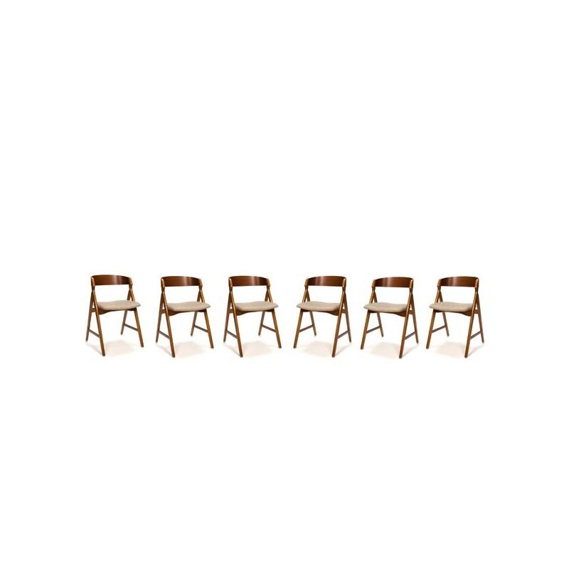 Danish chairs by H. Kjaernulf set of 6