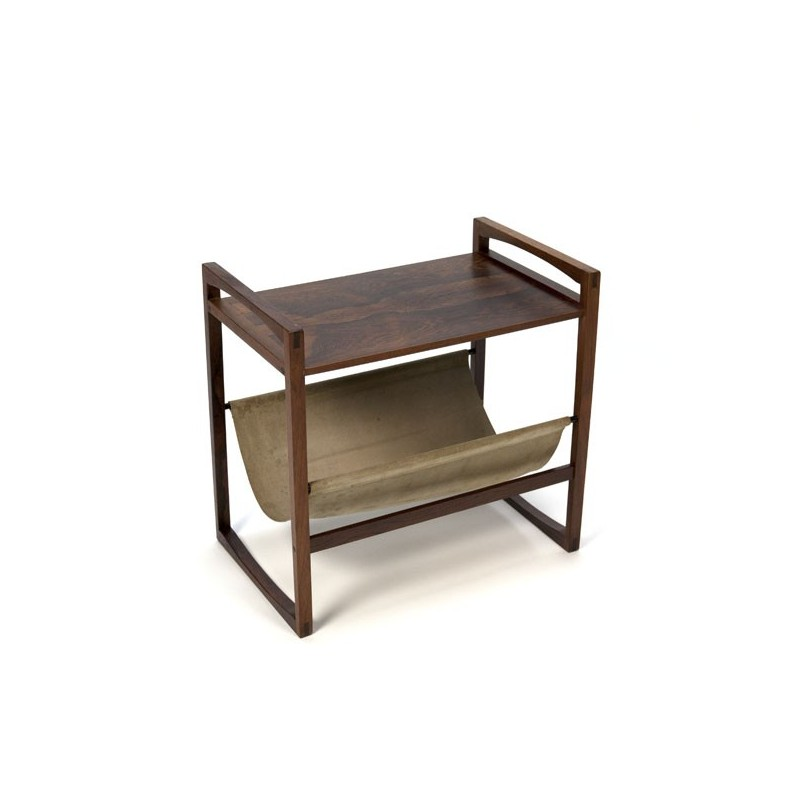 Rosewood side table with magazine basket