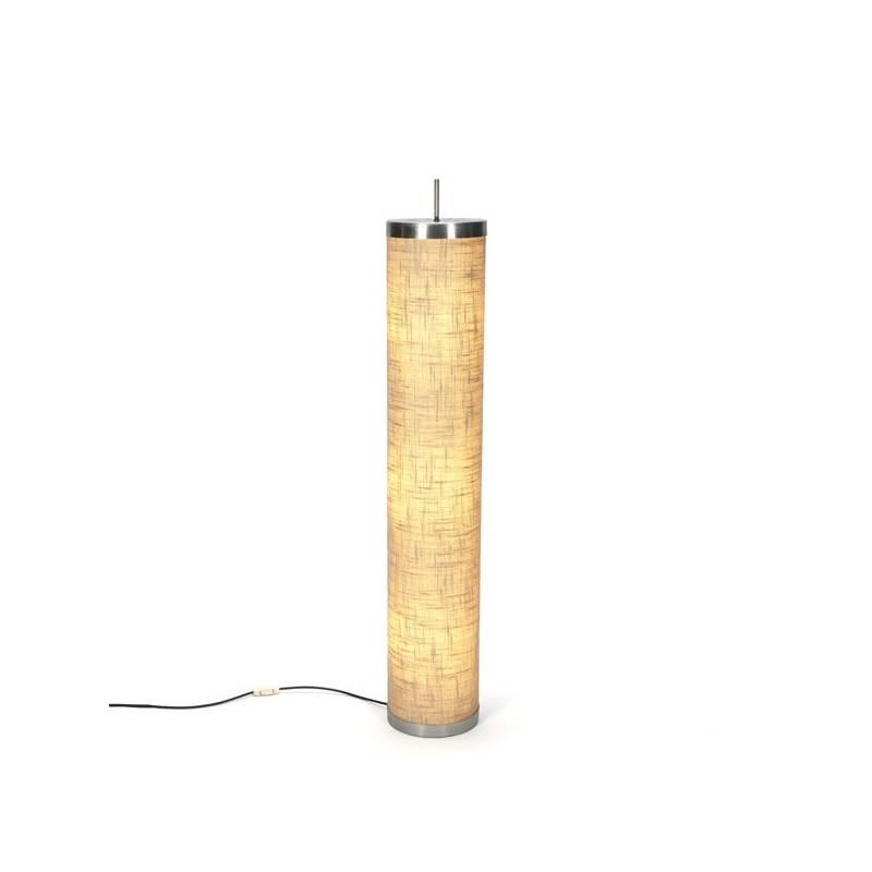 Standing floor lamp with burlap shade