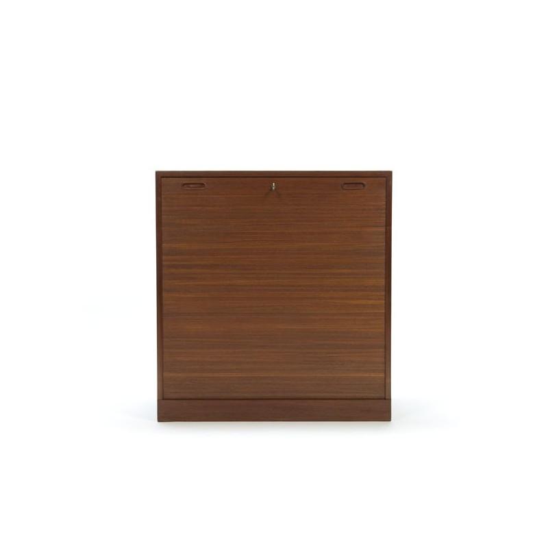 Teak filing cabinet with sliding door