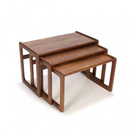 Set of 3 nest tables in teak