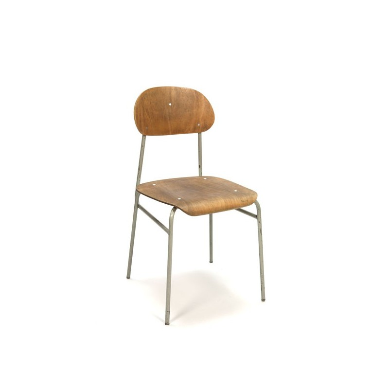 Industrial chair with light wooden seat