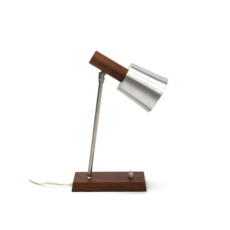 Tafellamp hout/ aluminium